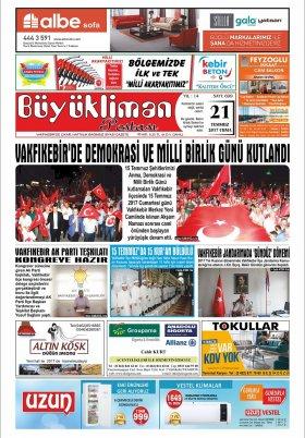 VAKFIKEBİR-Büyükliman Postası Gazetesi - 21.07.2017 Manşeti