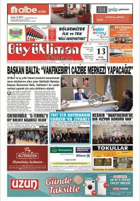 Büyükliman Postası Gazetesi - 13.01.2017 Manşeti