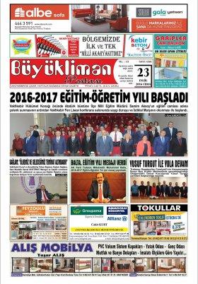 VAKFIKEBİR-Büyükliman Postası Gazetesi - 23.09.2016 Manşeti